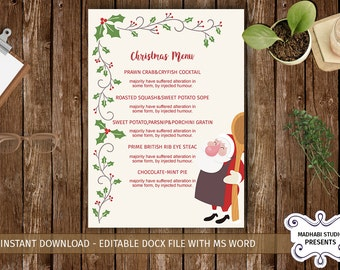 Christmas Menu Template | Holiday Party food menu | MS Word, Photoshop & Elements Template - INSTANT DOWNLOAD