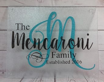Personalized Glass Cutting Board / Wedding Gift/ House Warming Gift / New Home/ Birthday Present