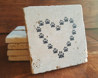 Pets Gifts, Pet Gift Ideas, Coasters, Paw print Gifts, Pet Lover Gifts, Gift for Pet Lovers, Dog Gifts, Stone Coasters, Paw print Gift Ideas