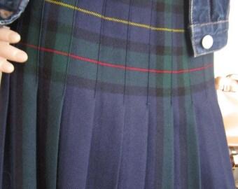 Vintage 60s wool skirt Plaid wool skirt wool S