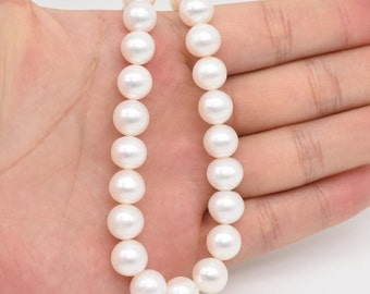 White freshwater pearls, 9-10mm AA round pearl beads, genuine loose pearl beads strand, cultured lustrous pearl big hole available, FR620-WS