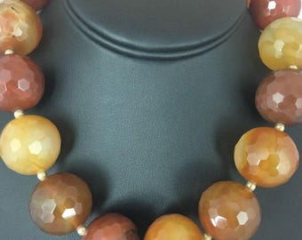 Huge Bold Faceted 24 mm Carnelian Gold Filled Beads Necklace