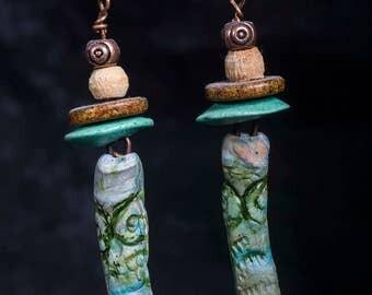 Rustic, tribal clay and Greek ceramic bead earrings
