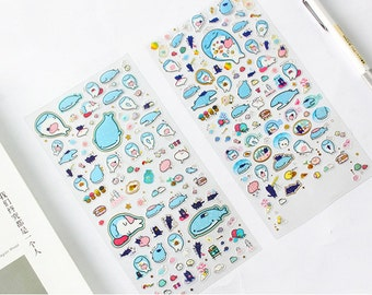 Kawaii Whale Stickers for Planner Journal Scrapbooking, Cute Whale, Decorative Stickers, Planner Stickers, Stickers from Japan