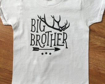 Big Brother Shirts - Boho Shirts- Siblings Shirt- Boho Deer Antlers - Pregnancy Announcment Tshirt- Big Bro Lil Bro Shirts