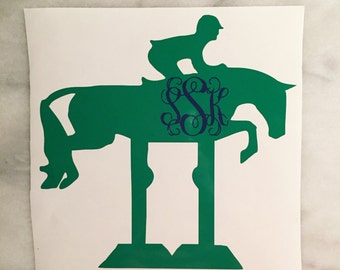 Hunter Jumper Monogram Horse Car Decal w/jump - equestrian sticker
