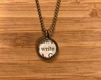Write Vintage Book Necklace, Graduation Gift