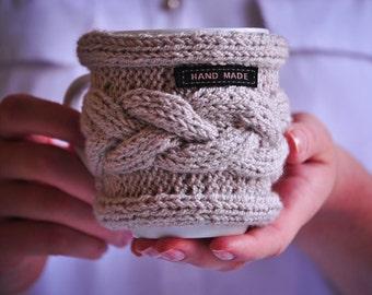 Coffee mug 350 ml with a yarn clothing | Beige