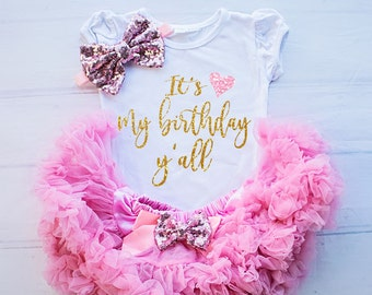 Girl Birthday Outfit, First Birthday Shirt Baby Girl Clothing, It's My Birthday Top, 1st Birthday Outfit, Baby Girl Birthday Clothing