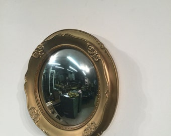 Vintage French Ceramic Convex Mirror