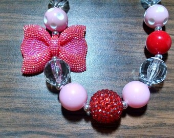 Valentine's Day Big Red Sparkle Bow Chunky Bubblegum Gumball Necklace