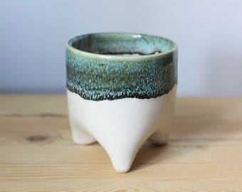 White and Blue Green Pottery Planter – Ceramic Succulent Planter – Tripod Plant Pot – Whimsical Ceramic Planter – Cute Planter