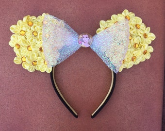 Disney Belle Yellow Daisy Floral Minnie Mouse Ears