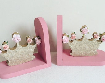 Custom made floral crown bookends //nursery decor //baby shower gift
