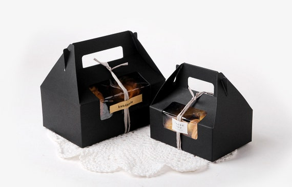 4 medium black window gable boxes wedding favor baby for Black box container studios