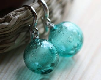 Glass Blown Bubble Earrings - Sparkling Turquoise Glass - Lightweight - Spheres - Easy lock clasps - Round Circle Form - Aqua Color