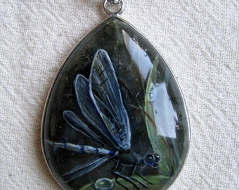 Labradorite, natural stone, painting, miniature painting, dragonfly, picture on stone, grass, pendant