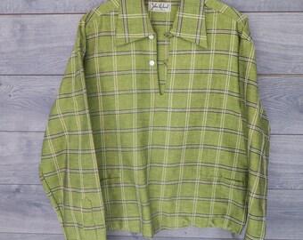 0244 John Richard CALIFORNIA - Vintage Vibrant Green 50's Long Sleeve