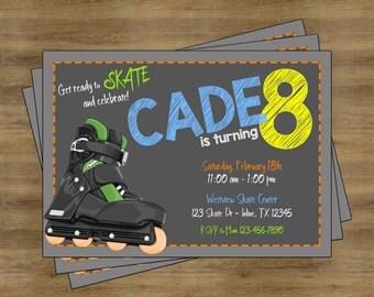 Roller Skating Party Invitation; Roller Skating Invitation; Roller Skating Birthday Invitations for Boys; Roller Skate Birthday Invitation