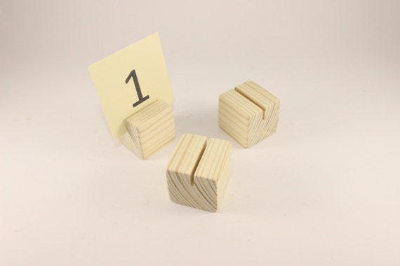 Set of 10 wooden card holders Table number holder Cube