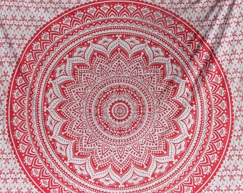 Pink and white mandala fabric - Queen size - College dorm, wall hanging, gypsy, hippy boho fabric