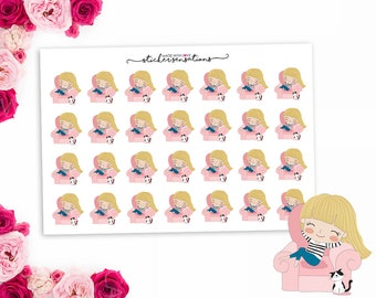 Planner Stickers Lazy Day  Girl Icon Stickers - DIFFERENT HAIR OPTIONS (Erin Condren, Mambi, Happy Planner)