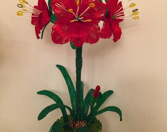 French Beaded Amaryllis in the flower pot