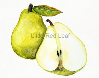 Pair of Pears Giclee Print from Original Watercolor, Kitchen Decor, Wall Art 8 x 8 Inch