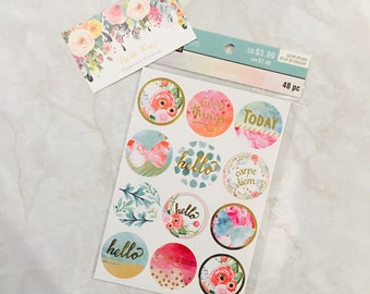 Recollection Sticker. 48 pcs. good things. today. hello. floral