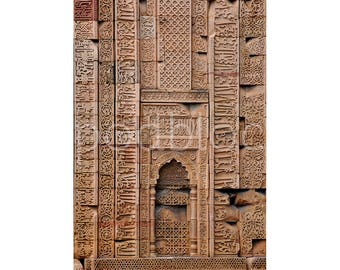 Indian Architecture, Wall Art Qutb Complex, Fine Art Photograph, Archival Giclee Print, Delhi India, Archway Islamic Calligraphy,  Asian Art