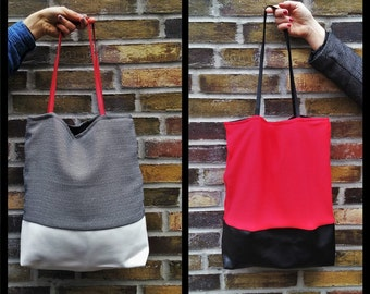 Black and White/Red and Black Tote Bag//Faux Leather+Cotton Vegan Tote//Ladies Handbag//Shoulder Bag
