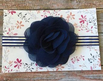 Navy Blue Headband/Navy Blue Baby Headband/Baby Headband/Infant Headband/Baby Girl Headband/Flower Headband/Newborn Headband/Navy Headband