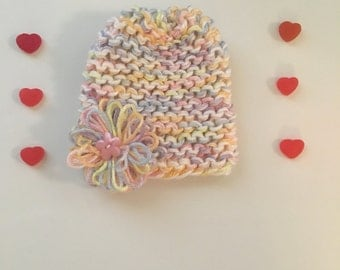 Newborn baby girl hat, pastels with cute flower details