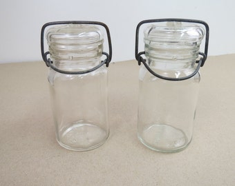 2 Vintage Pint Canning Jars with Wire Clamp Lids, Wheaton & 444