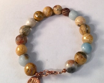 Beaded Bracelet with Copper Lotus Disc