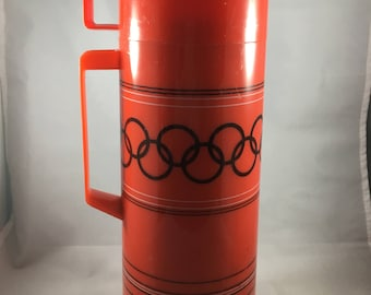 Vintage Aladdin Skogmo Red and Black Olympic Rings Quart Sized Thermos