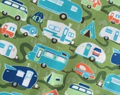Road Trailer in Green Cotton Fabric from the Road Trip Collection by Riley Blake
