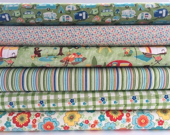 Road Trip Bundle in Green from Riley Blake, 6 Fabrics