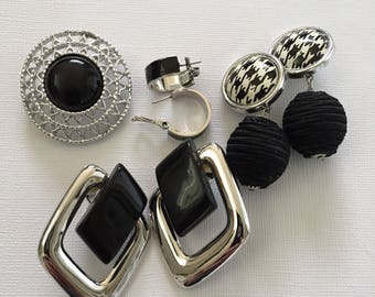 Monet and SARAH Coventry Jewelry Vintage Silver and BLACK vintage jewelry hoop earrings brooch jewelry lot