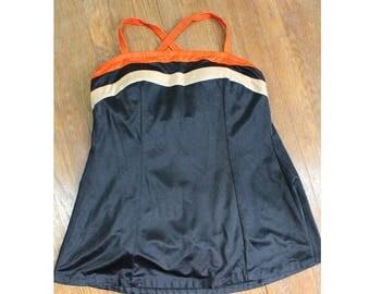 Vintage 70s 80s Retro Swimsuit - 70s Swimdress with Orange and Beige Stripes - Plus Size, XL, XXL