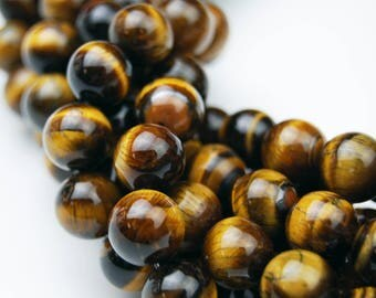 Yellow Tiger Eye Gemstone Round Well Polish  Loose Beads 15.5 Inch per Strand, Size 4mm/6mm/8mm/10mm/12mm.R-S-TIG-0285