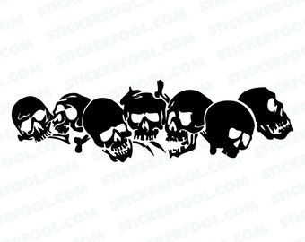 396- Skulls Any Size or Color Custom Cut Vinyl Decal Sticker - Free Shipping