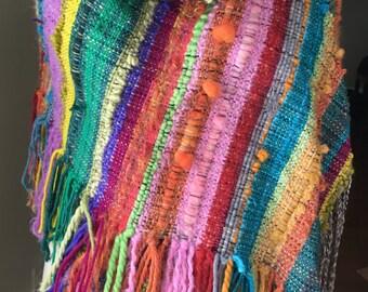 Saori Hand woven shawl/wrap/scarf