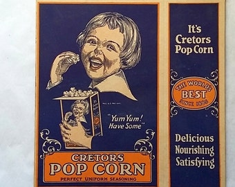 Colorful 1929 Cretors Pop Corn Box, Never Used, Movie Theater
