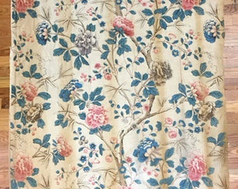 Vintage 1930's French Linen Floral Print Fabric (2038)