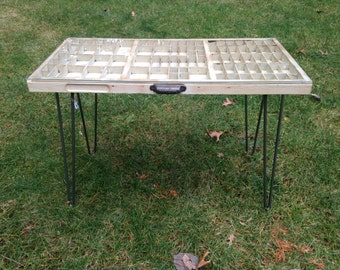 Reclaimed Printers Type Drawer Coffee Table / End Table/ Hairpin leg table
