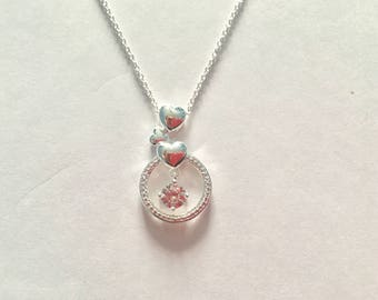 Silvet Karma Circle Necklace Inset With Crystal Droplet Entwined By Two Silver Hearts on An 18 Inch Chain