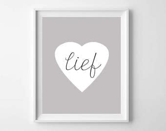 Lief Heart Printable, Digital print, Dutch Lief Nursery Print, Kinderkamer kunst, Kids Room Nursery Decor, Home Decor, Modern Nursery Art