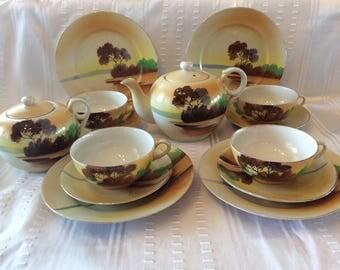 Vintage 1940 Japan tea set teapot cups and saucers sugar bowl and plates