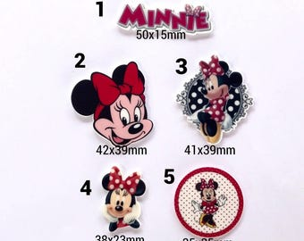 Minnie mouse flat back resin.Minnie mouse cabochon.Minnie mouse planar resin
